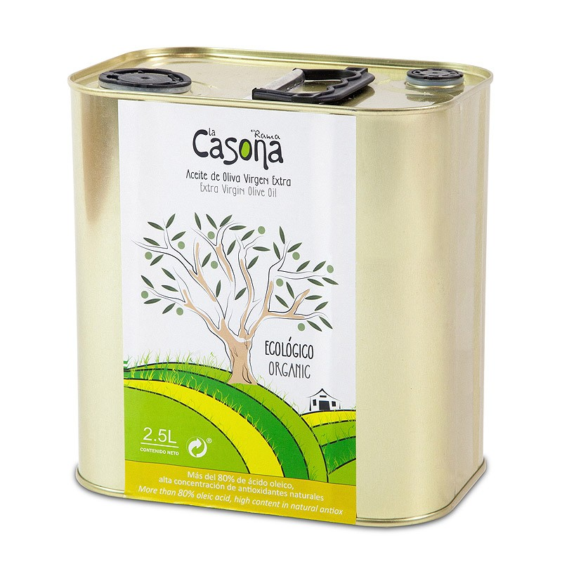 2,5 l tin can. Organic EVOO picual variety and early crop